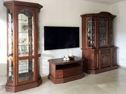 wohnzimmer glas vitrine tv lowboard buffet nussbaum set antik top