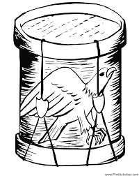 Patriotic Coloring Page Of An Eagle On A Drum For The Fourth July