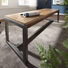 finebuy esszimmerbank 175 x 46 x 45 cm mango massivholz metall holzbank vintage esstischbank massiv ohne rücken lehne küchenbank essbank groß