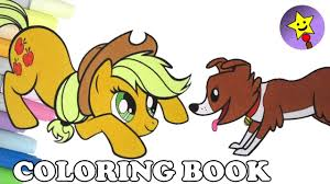 Applejack Coloring Book Page MLP My Little Pony And Winona For Kids Art