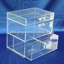 China Small Acrylic Display Stand With Drawers Take Out Easily Gluing Without Bubbles