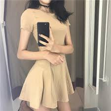 ItGirl Shop BASIC COTTON SHORT SUMMER SLIM SEWED DRESS Aesthetic Apparel Tumblr Clothes Soft