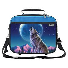 Wolf Moon Howl School Lunchbox Tote Bag For Boys Girls Kids