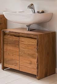 kawola badezimmer waschbecken unterschrank loft edge akazie massiv holz baumkante b h t 70x60x40cm