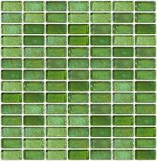 glass tile 3 4 x 1 1 2 inch green iridescent glass subway tile