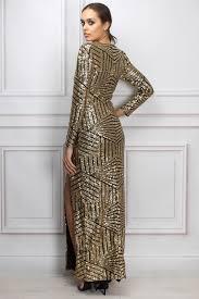 sam faiers wears gold long sleeve sequin maxi dress rare london