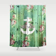 Vintage Floral Nautical Anchor Green Beach Wood Shower Curtain by