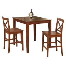 East West Furniture PUBS3-BRN-W 3-Piece Gathering Table Set, Brown