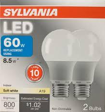 2 sylvania 8 5 watt 60w equivalent a19 medium base soft white