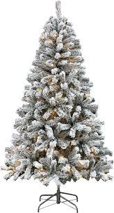PRE LIT Flocked Christmas Tree Green 6ft