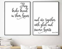 Set Of 2 PrintableThey Broke Bread In Their Homes And Ate TogetherActs 246Dining Room Wall ArtHome DecorKitchen DecorBible Verse Art