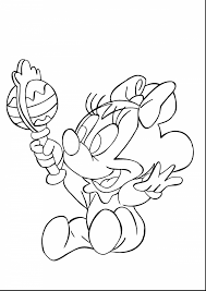 Fantastic Baby Minnie Mouse Coloring Pages Printable With Page