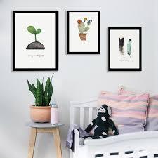 aquarell leinwanddruck feder hirsch kaktus kaninchen und spross