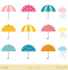 Umbrellas Clipart Clip Art Rainy Clouds Day Weather Graphics Baby Shower Bridal From