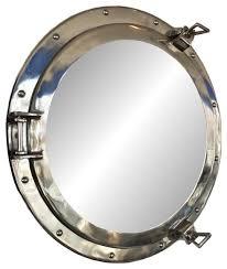 decorative ship porthole mirror chrome beach style wall