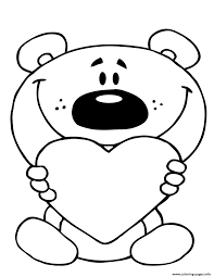 Teddy Bear Holding A Red Heart Coloring Pages Printable