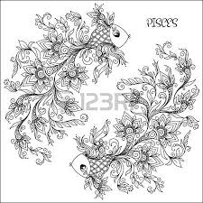 Pattern For Coloring Book Hand Drawn Line Flowers Art Of Zodiac Pisces Horoscope Symbol