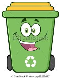 Happy green recycle bin cartoon character vector illustration