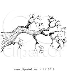 Cartoon of a Background of Black Bare Tree Branches Royalty Free