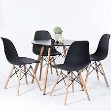 hj wedoo skandinavien esszimmergruppe mit rund esstisch und 4 essstühlen geeignet für esszimmer küche wohnzimmer schwarz