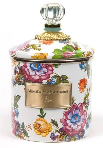 MacKenzie-Childs - Flower Market Enamel Canister - White - Small