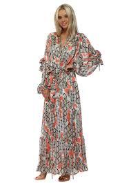 briefly paris coral snake print maxi dress