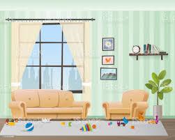 kinder verstreute spielzeug in einem leeren wohnzimmer stock vektor und mehr bilder boden