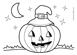 Funny Halloween Cat And Bats Coloring Pages For Kids Pumpkin In Free Printable