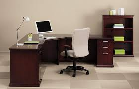 Executive Computer L Desk Consisting Of A Corner And Single Pedestals On Both The Right Left Sides With Three Shelf Bookcase