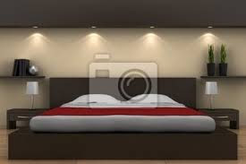 modernes schlafzimmer mit bett braun und beige wand poster myloview