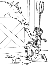 Feeding Horse Animal Coloring Page