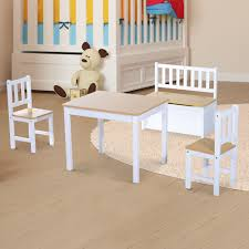Wooden Kids Play Table Chairs Set Storage Stool Furniture Toddlers ...