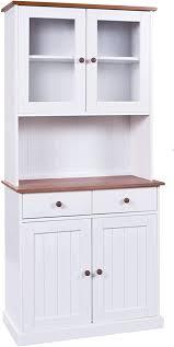 h24living vitrine anrichte esszimmerschrank küchen schrank im landhaus stil bauern schrank aus massivholz weiß sepia 2 türen