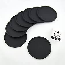 coastee silikon untersetzer 8 stück schwarz glasuntersetzer set für bar wohnzimmer küche