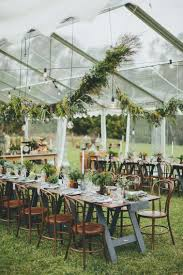 Rustic Wedding Tent Decorations Diy Hanging Greenery Lights And Wood Metal Accents