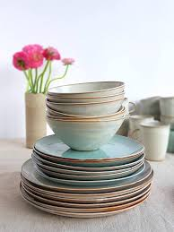 4 Pieces Mix And Match Fine Ceramic Dinnerware Set A Unique Rustic Earthy Look That
