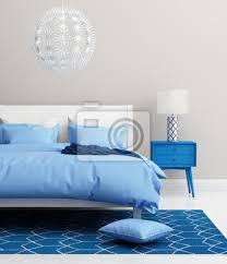 fototapete moderne frische elegante blaue schlafzimmer mit teppich