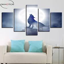 okhotcn gerahmte leinwand poster wohnzimmer wohnkultur 5 stück vollmond nacht tier wolf heulen gemälde wand kunst drucke bilder