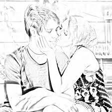 Kissing Pencil Art Love Couple Hd Wallpaper