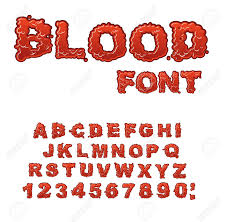 Blood Font Red Liquid Letter Fluid Lettring Bloody ABC Of
