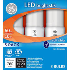 ge 60w equivalent soft white general purpose led bright stik light