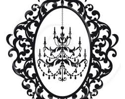Antique Chandelier In Vintage Picture Frame Silhouette Digital Clipart Clip Art Commercial Use