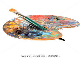Artist Palette Laying Down On White Background