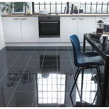 wickes polished granite black floor tile 305 x 305mm