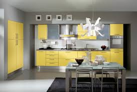 Modular Design Of Yellow Kitchen Cabinets With Dining Table