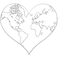 Click To See Printable Version Of Heart Shaped Earth Coloring Page