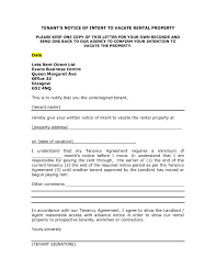 Letter Vacate Landlord Tenant Rental Property From The Premises