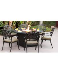 Lebanon 7 Piece Dining Set With Cushions And Fire Pit