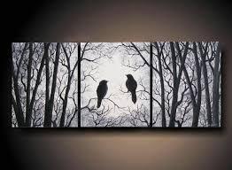Three Canvas Wall Art Rectangle Black White 3 Piece Set Birds On Tree 24 X 10 By Artbysimplyme 95 Usd Wonderful Design Decoration