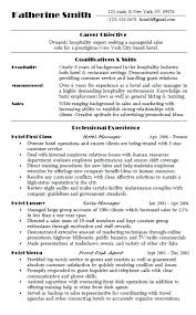 Resume Examples For Hospitality Sample Summary Statement